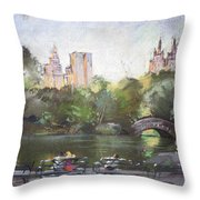 Nyc Resting In Central Park Throw Pillow