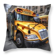 Nyc School Bus Throw Pillow