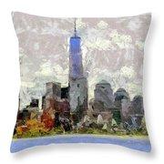 Nyc Skyline Digital Painting  Throw Pillow