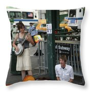 Nyc Street Musicians Banjo Throw Pillow