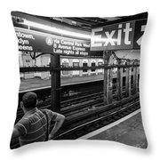 Nyc Subway At Night Throw Pillow by Ranjay Mitra