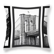 Nyc Three Bridges-east River Throw Pillow