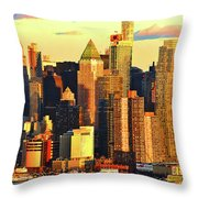 Nyc West Side In Gold And Blue  Throw Pillow
