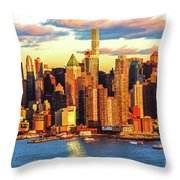 Nyc West Side Skyscrapers At Sundown Throw Pillow