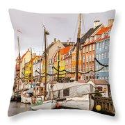 Nyhavn Area Copenhagen Throw Pillow