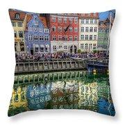 Nyhavn Harbor Area, Copenhagen Throw Pillow