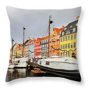 Nyhavn Harbour In Copenhagen Throw Pillow