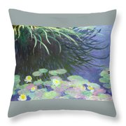Nympheas Avec Reflets De Hautes Herbes Throw Pillow