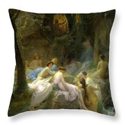 Nymphs Listening To The Songs Of Orpheus Throw Pillow