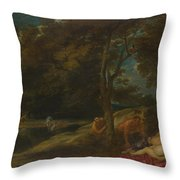 Nymphs Surprised By Satyrs Throw Pillow