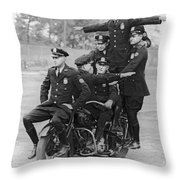 Nypd Motorcycle Stunts Throw Pillow