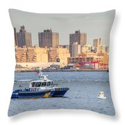 Nypd Patrol Boat In East River Throw Pillow