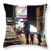 Nypd Times Square Throw Pillow