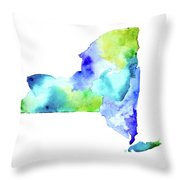 New York State In Blue And Green Throw Pillow