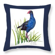 Nz Native Pukeko Bird Throw Pillow