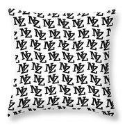 Nz New Zealand Black On White Throw Pillow