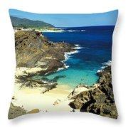 Oahu, Beach Goers Throw Pillow