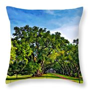 Oak Alley Plantation Throw Pillow by Steve Harrington