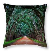 Oak Alley Road Throw Pillow