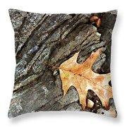 Oak Leaf On The Rocks Throw Pillow
