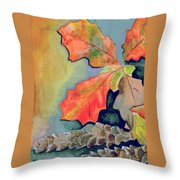 Oak Leaves And Pinecones Throw Pillow