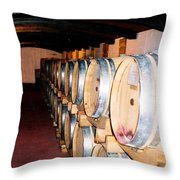 Oak Red Wine Barrels Throw Pillow