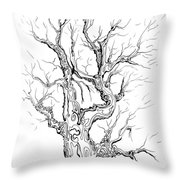 Oak Tree Abstract Study Throw Pillow