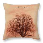 Oak Tree Alone  Throw Pillow