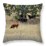 Oak Tree And The Cows Throw Pillow