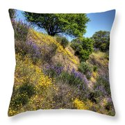 Oak Tree And Wildflowers Throw Pillow