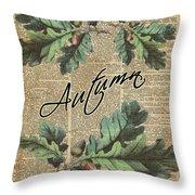 Oak Tree Leaves And Acorns, Autumn Dictionary Art Throw Pillow