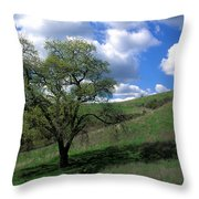 Oak Tree With Clouds Throw Pillow
