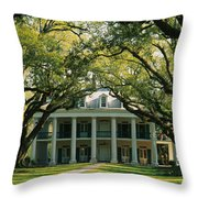 Oak Trees In Front Of A Mansion, Oak Throw Pillow