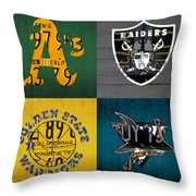 Oakland Sports Fan Recycled Vintage California License Plate Art Athletics Raiders Warriors Sharks Throw Pillow