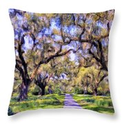 Oaks And Spanish Moss Throw Pillow