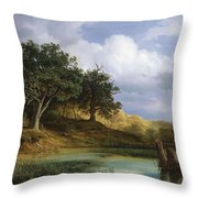 Oaks Beside The Water 1832 By Christian E. B. Morgenstern Throw Pillow