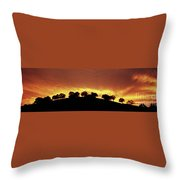 Oaks On Hill At Sunset Throw Pillow
