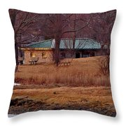 Obear Park At Sunset In Winter Throw Pillow