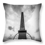 Obelisk And Big Wheel At Place De La Concorde, Paris Throw Pillow