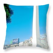 Obelisk On July Nine Avenue In Buenos Aires-argentina Throw Pillow
