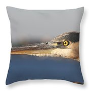 Observant Eye - Heron Portrait Throw Pillow