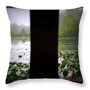 Observation Deck On A Misty Lake  Throw Pillow
