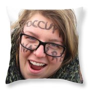 Occupy Nature Face Paint At Political Demonstration Throw Pillow