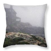 Ocean Avenue House In Fog Throw Pillow