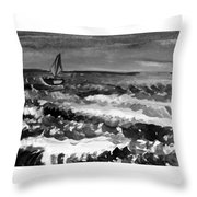 Ocean Back And White Throw Pillow