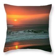 Ocean Beach Sunrise Throw Pillow