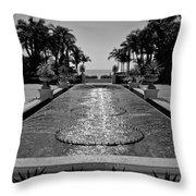 Ocean Behind Fountain Throw Pillow