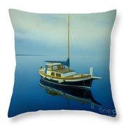 Coastal Wall Art, Ocean Blue, Fishing Boat Paintings Throw Pillow