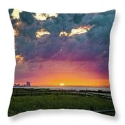 Ocean City Cloudy Sunrise Throw Pillow