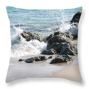 Ocean Drive Rocks Throw Pillow